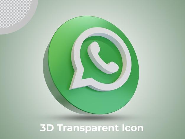 Vista lateral del icono renderizado 3d de whatsapp de alta calidad