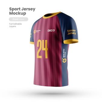 Vista lateral de la maqueta de la camiseta deportiva