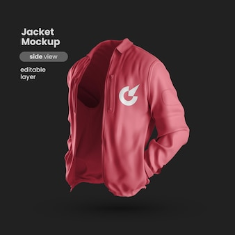 Vista lateral de la maqueta de chaqueta premium