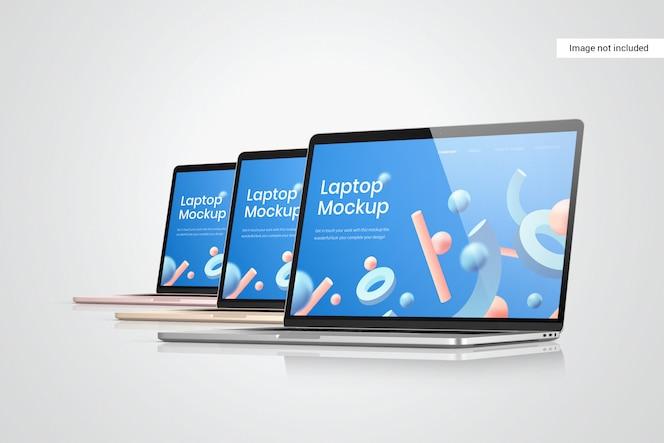 Vista lateral de la maqueta de la pantalla del portátil