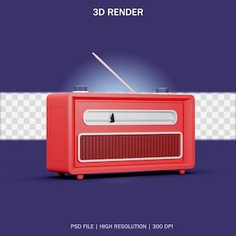 Vista lateral de la radio clásica roja con fondo transparente en diseño 3d