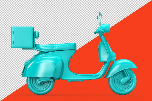 Vista lateral del scooter retro vintage