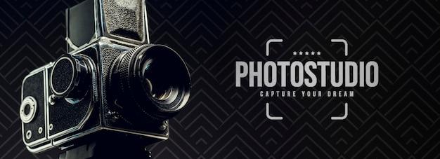 Vista laterale della fotocamera per studio fotografico