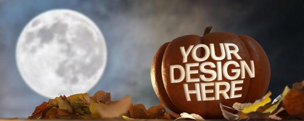 Vista de una maqueta de calabaza de halloween en una escena nocturna