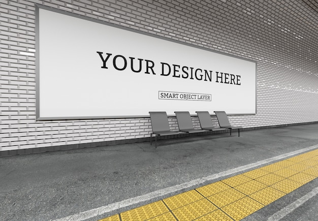 Vista de una maqueta de cartelera de metro