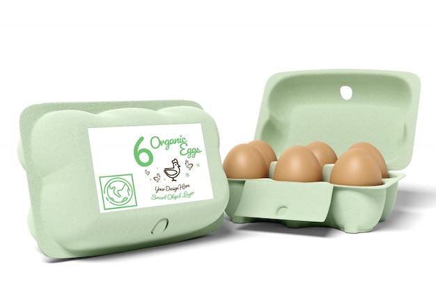 Vista de una maqueta de diseño de envases de cartón de huevos