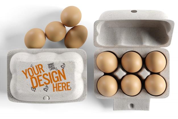 Vista de una maqueta de empaque de cartón de huevos