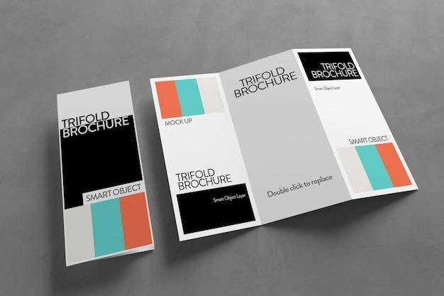 Vista de una maqueta de folleto tríptico