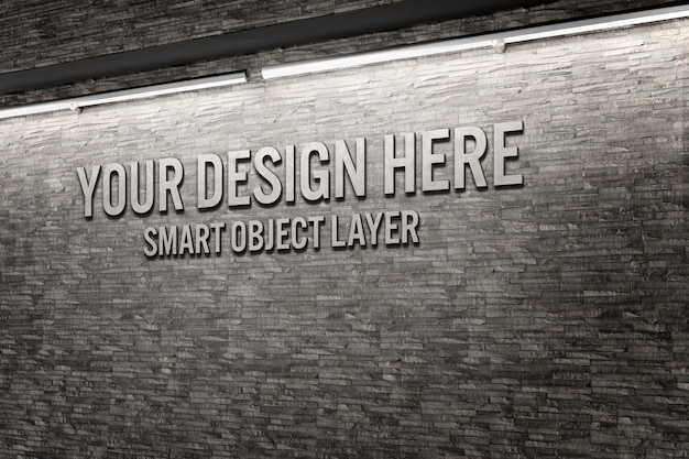 Vista de una maqueta de palabras en 3d en una pared