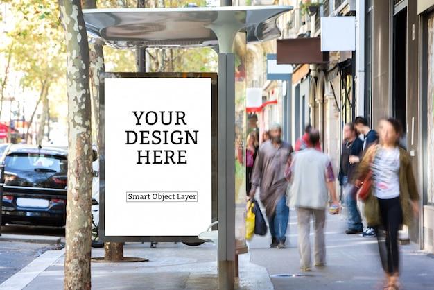 Vista de una maqueta de publicidad exterior