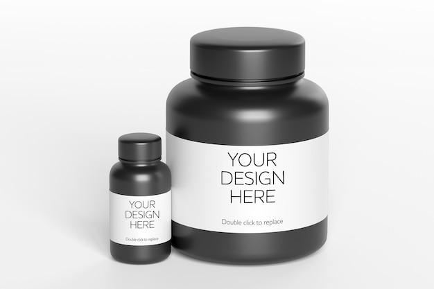 Vista de maqueta de una representación 3d de contenedor de vitamina