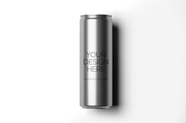 Vista de maqueta de una representación 3d de lata de metal