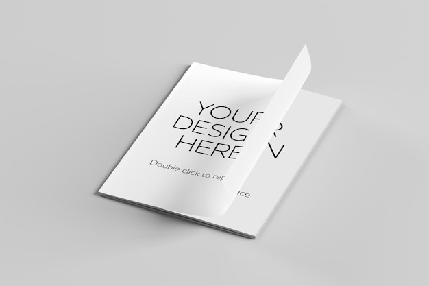 Vista de maqueta de una revista de renderizado 3d