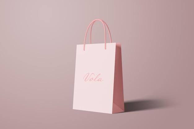 Vista en perspectiva de maqueta de bolsa de compras