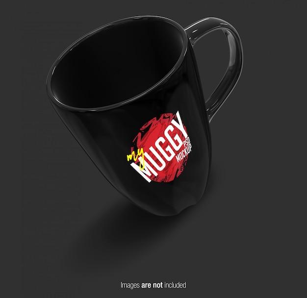 Vista en perspectiva de la taza negra