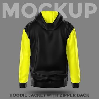 Vista posterior maqueta de chaqueta con capucha negra y amarilla