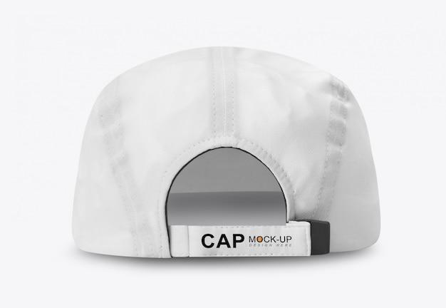 Vista posterior de la maqueta de gorra de béisbol blanca