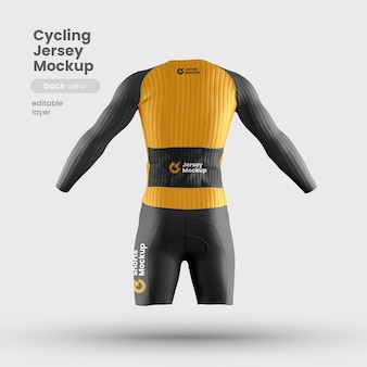 Vista posterior de la maqueta de jersey de bicicleta