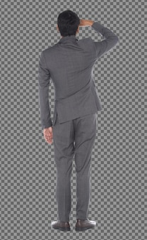 Vista posterior de la parte posterior de los ojos de la mano, longitud total del hombre de negocios de pie y use pantalones de traje gris, aislado