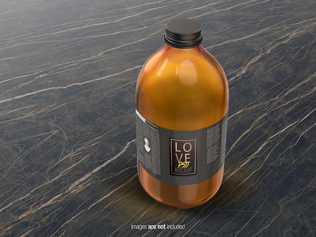 Vista prospettica della bottiglia di olio di media grandezza