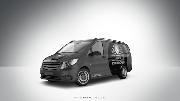 Vista prospettica di van vehicle psd mockup