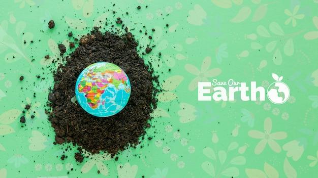 Vista superior del arreglo con el planeta tierra