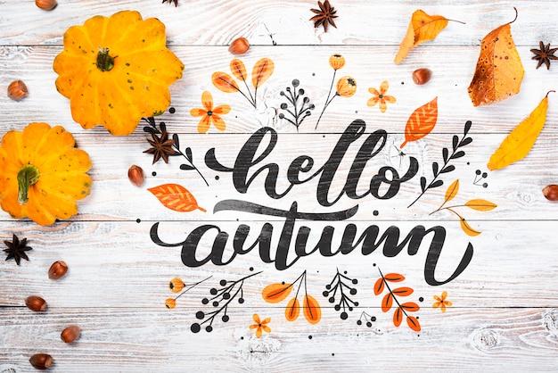Vista superior del arreglo de la temporada de otoño