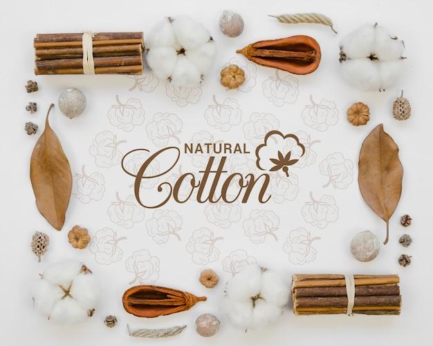 Vista superior de bastoncillos de algodón natural con maqueta