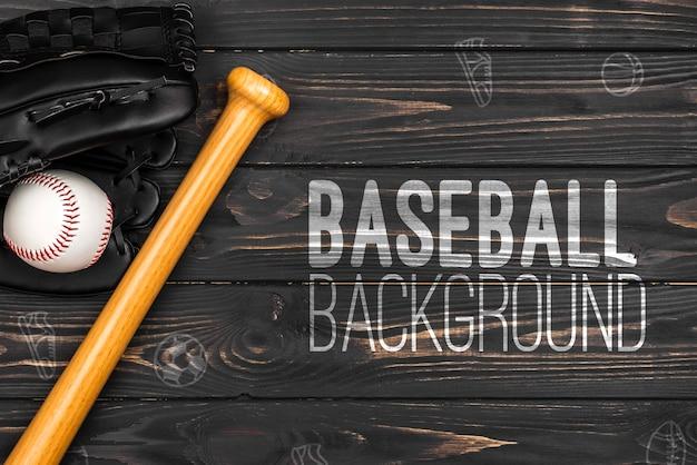 Vista superior bate de béisbol y guante con pelota