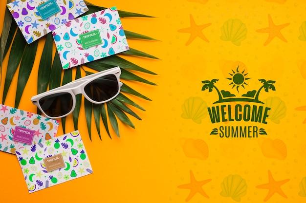 Vista superior bienvenida concepto de verano