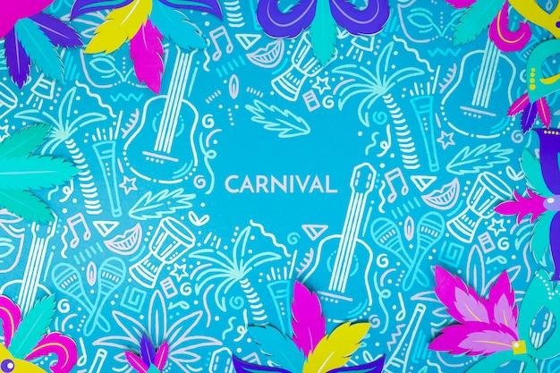 Vista superior del colorido marco de hojas de carnaval