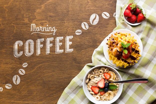Vista superior de la comida del desayuno con cereales y frutas.