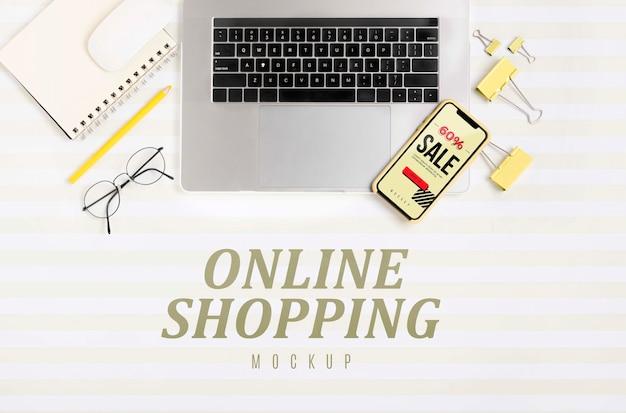 Vista superior de compras en línea