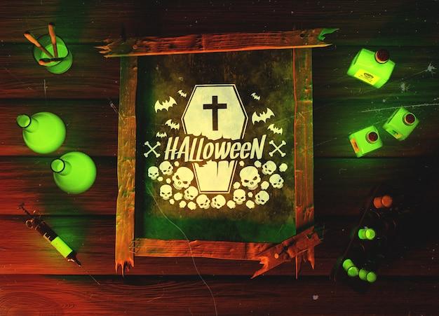 Vista superior concepto de horror verde de halloween