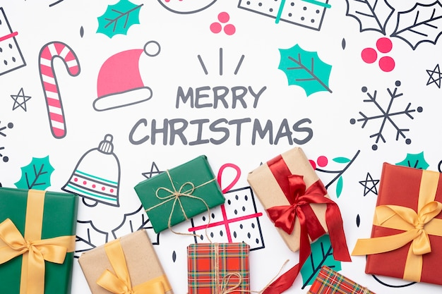 Vista superior del concepto de navidad con regalos