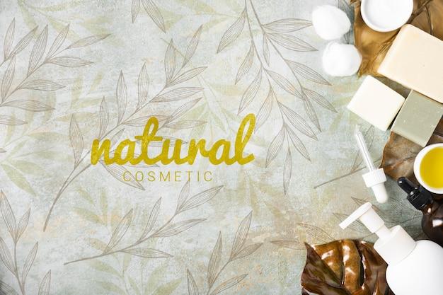 Vista superior de cosméticos naturales para el cuidado de la piel