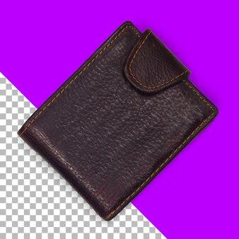 Vista superior de cuero billetera marrón oscuro aislado