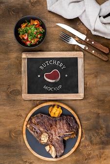 Vista superior deliciosa carne cocida