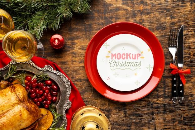 Vista superior de la deliciosa maqueta de comida navideña