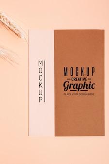 Vista superior de diseño gráfico creativo de maqueta