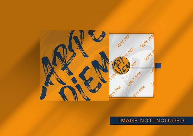 Vista superior del diseño de maqueta de embalaje de caja
