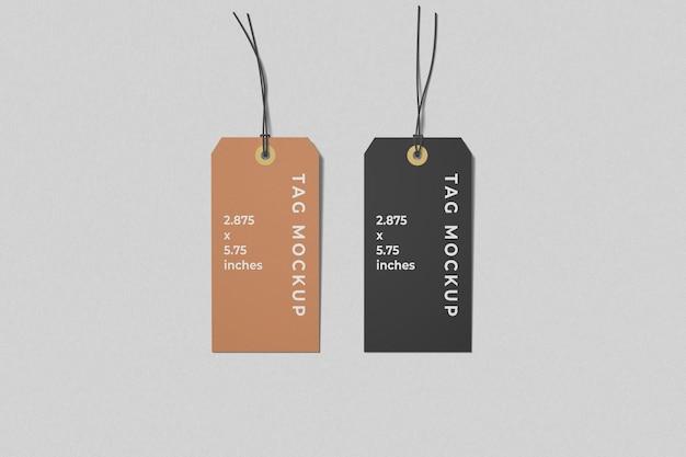 Vista superior de dos maquetas de etiquetas de etiquetas