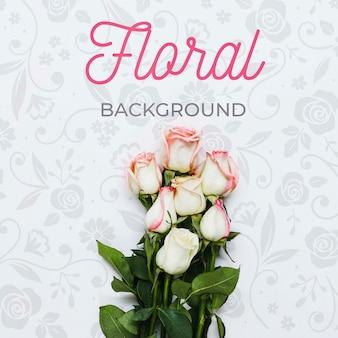 Vista superior elegante fondo floral