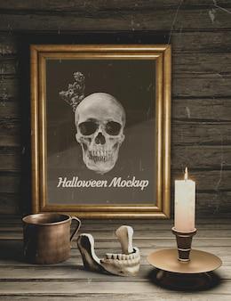 Vista superior elementos oscuros maqueta de horror negro de halloween