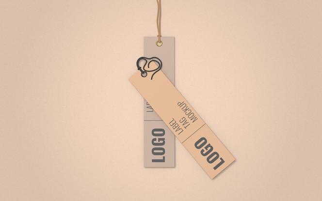 Vista superior de la etiqueta de ropa etiqueta maqueta