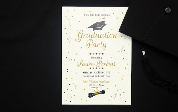 Vista superior fiesta de graduación con maqueta