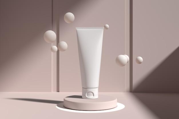 Vista superior de galleta ligera de maqueta de embalaje de cosméticos cuidado de la piel