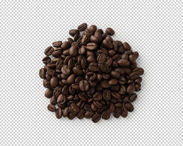 Vista superior de los granos de café aislado