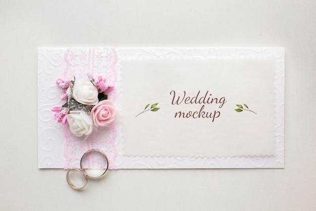 Vista superior de la hermosa maqueta del concepto de boda