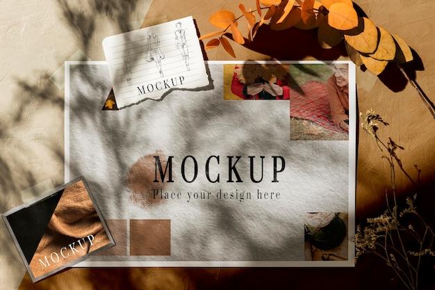 Vista superior de la hermosa maqueta de moodboard de otoño